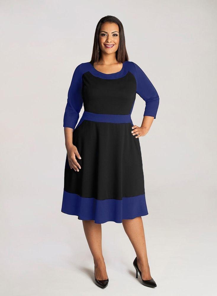 Igigi Plus Size Dress Size 14 16 Color Block Blue Black | Love My ...