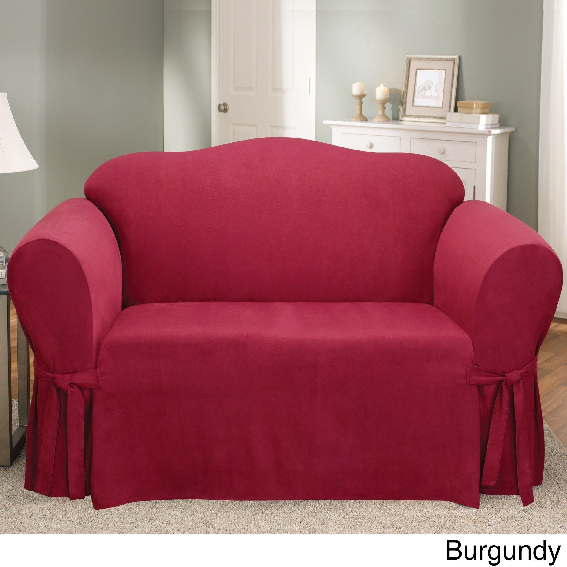 Sure Fit Smooth Suede Washable Loveseat Slipcover Burgundy Red