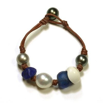 Fine Pearls and Leather Jewelry by Designer Wendy Mignot Gypsy Tahitian Mixed Bracelet