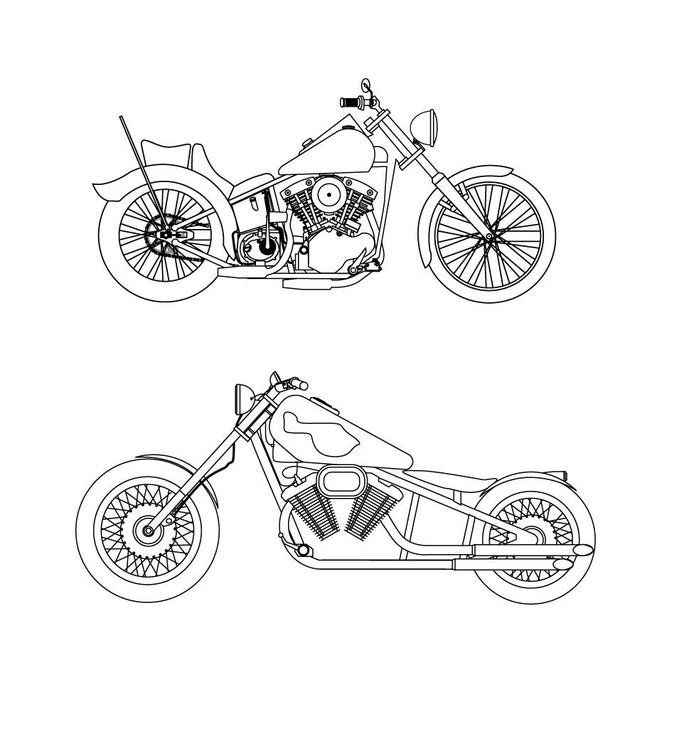 Free Vector Harley Davidson Motorbikes Www Vectorfantasy Com Bike Sketch Motorcycle Drawing Harley Davidson Art