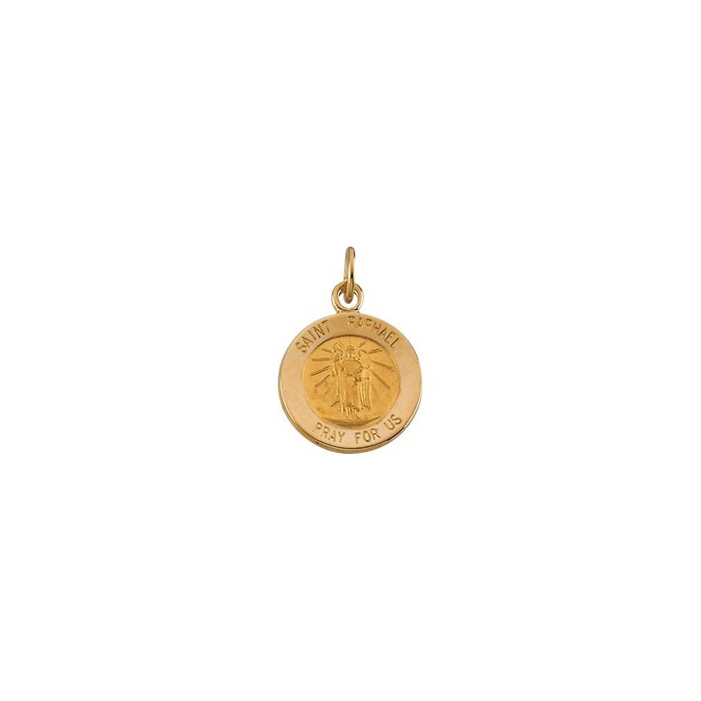 Roy rose jewelry k yellow gold mm round st raphael medal