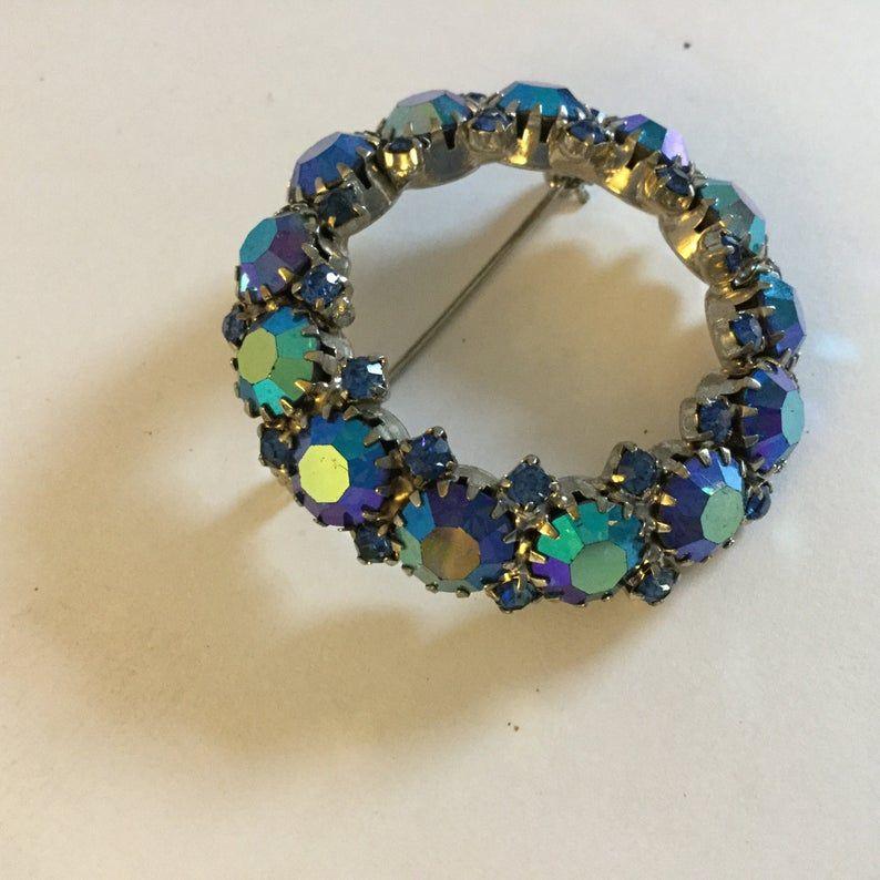 Vintage Signed Warner Aurora Borealis Pin and Earrings Set
