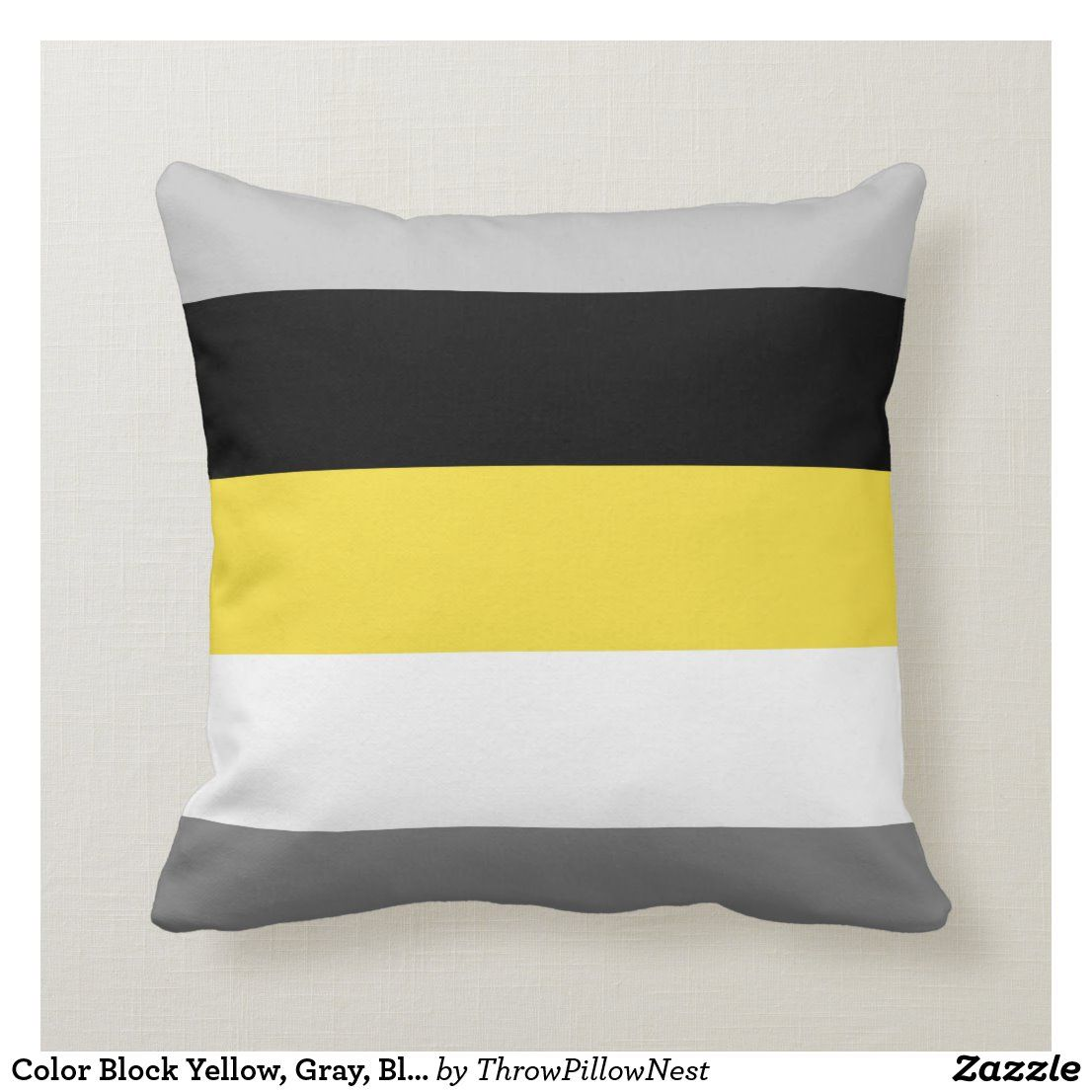 Color Block Yellow Gray Black And White Throw Pillow In 2020