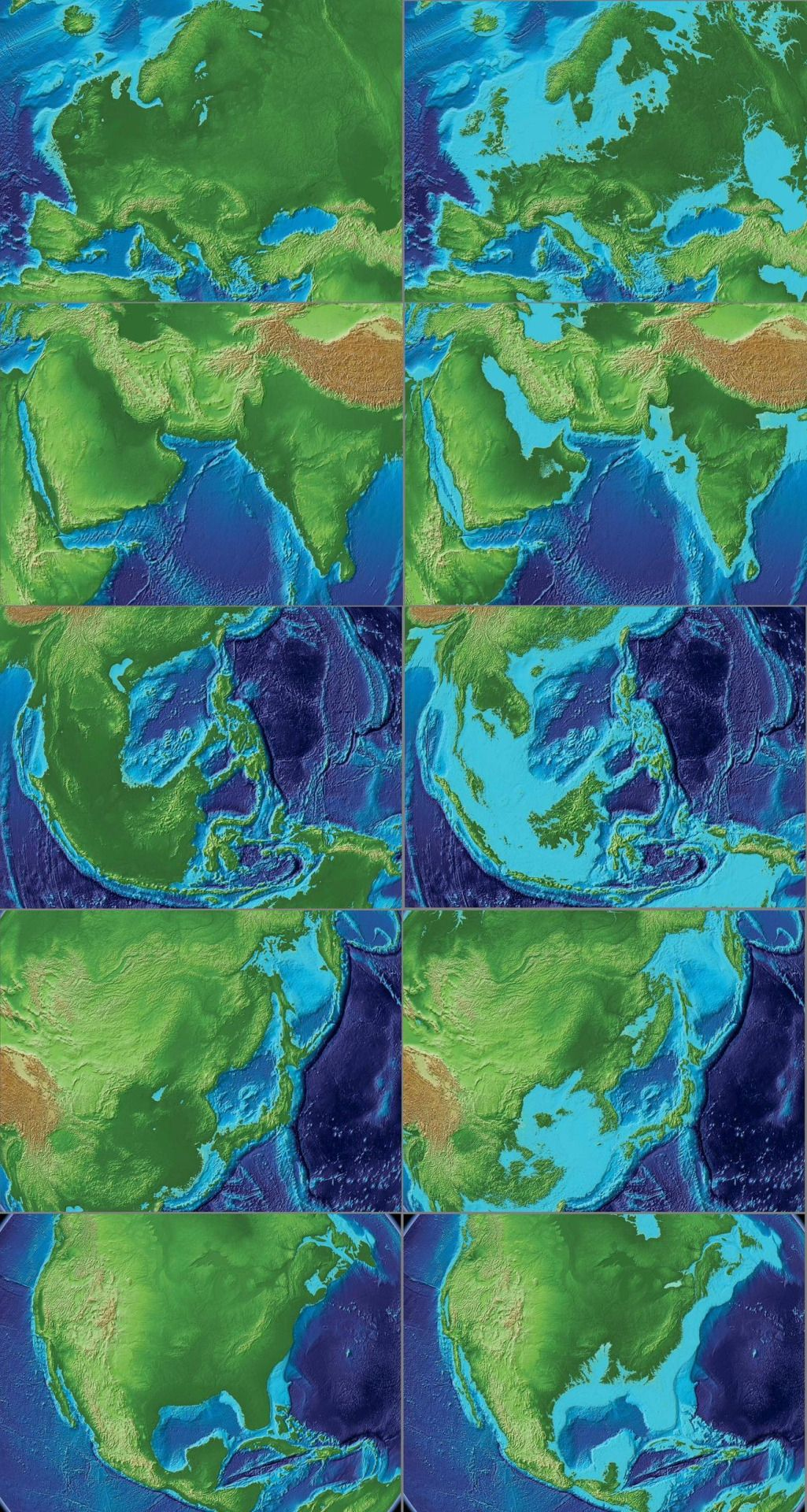 The World In 120m Lower Sea Level Vs An 80m Rise In Sea Level Maps