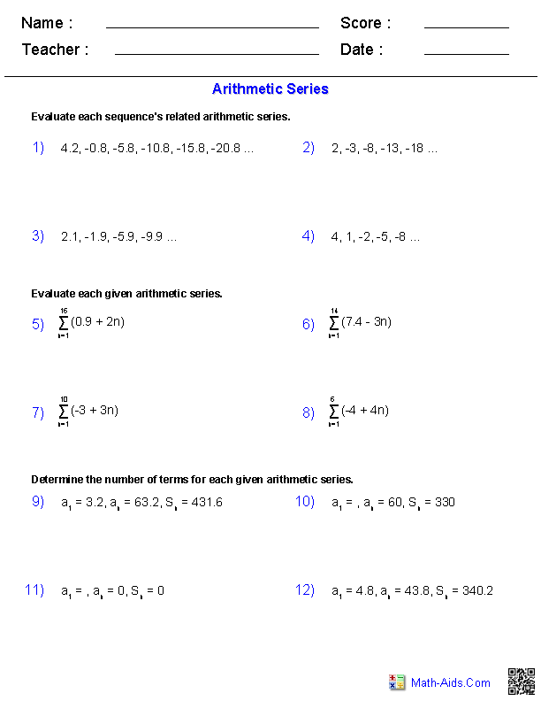 Algebra 2 Worksheets Sequences And Series Worksheets Arithmetic Sequences Arithmetic Geometric Sequences