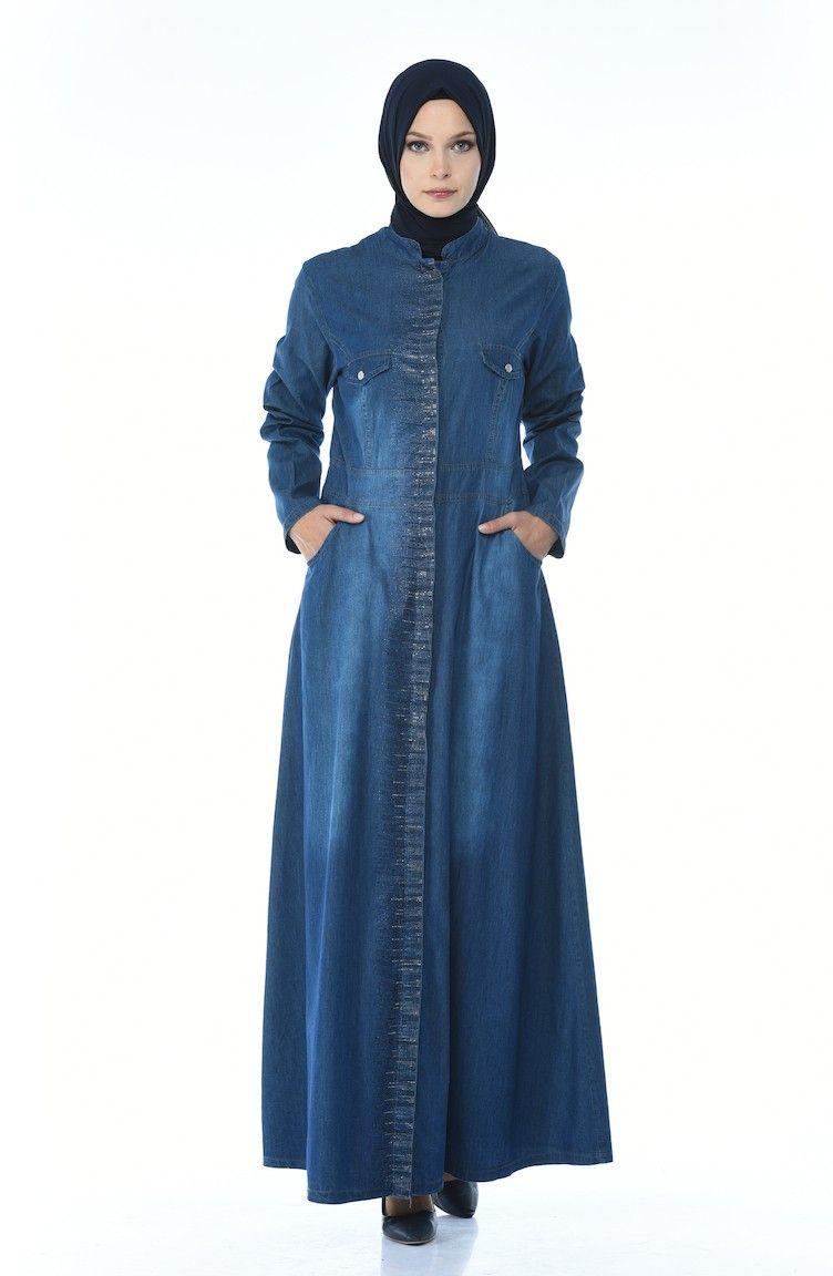 عباية جينز مطبعة بأحجار لون كحلي Chic Hanim Fashion Coat Neck Dress