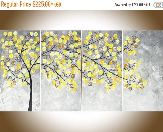 Yellow And Grey Wall Art Impasto Tree Painting By Qiqigallery