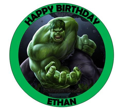 7.5inch-round-incredible-hulk-cake-topper-rice-wafer-paper-fondant-icing-options-available--501-p.jpg (470×425)