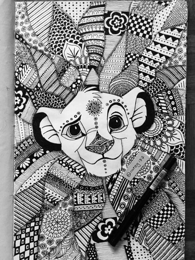 mandala drawing of simba to make him look like a king oh. Black Bedroom Furniture Sets. Home Design Ideas