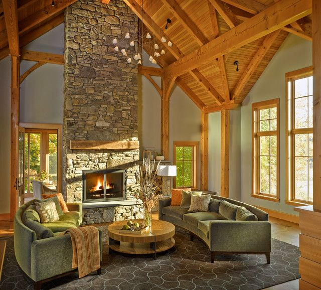 charming empty living room fireplace | 19 Stunning Rustic Living Rooms With Charming Stone ...
