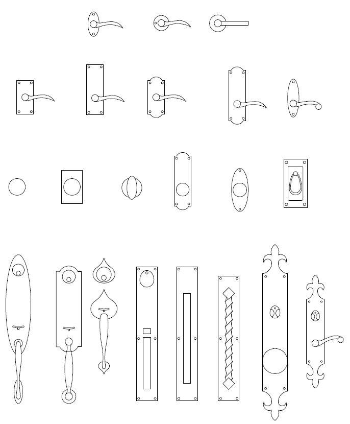 Archblocks Autocad Door Hardware Block Symbols Interior Design