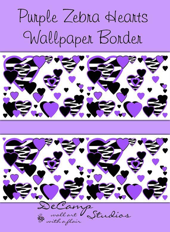 PURPLE ZEBRA PRINT Heart Wallpaper Border Wall Decals Teen Girls ...