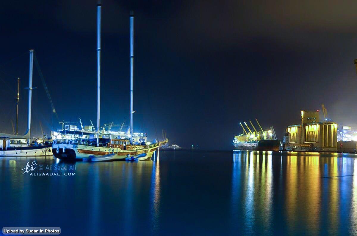 Port Sudan Harbour At Night ميناء بورتسودان في الليل السودان By Ali Saad Ali Sudan Portsudan Redsea Night Harbour Photo Marina Bay Sands Marina Bay