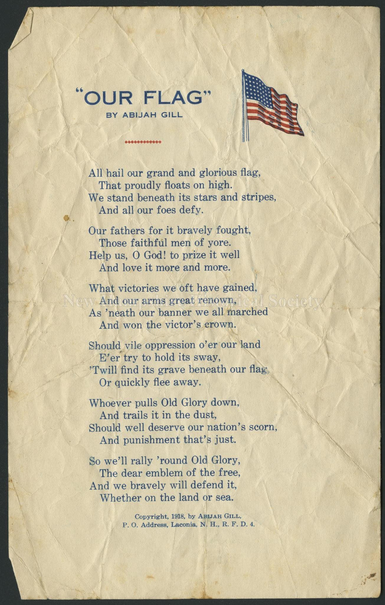 1918 Our Flag Poem By Abijah Gill Poems Historical Society Flag