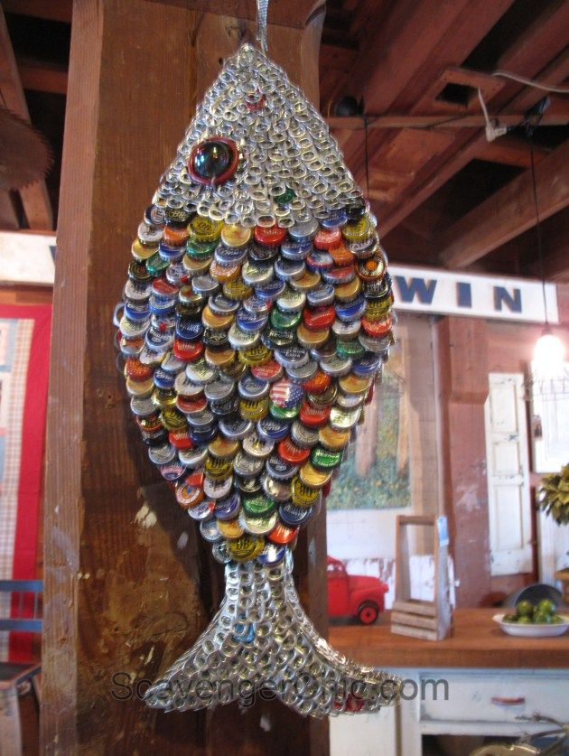 Recycled Bottle Cap and Pull Tab Fish