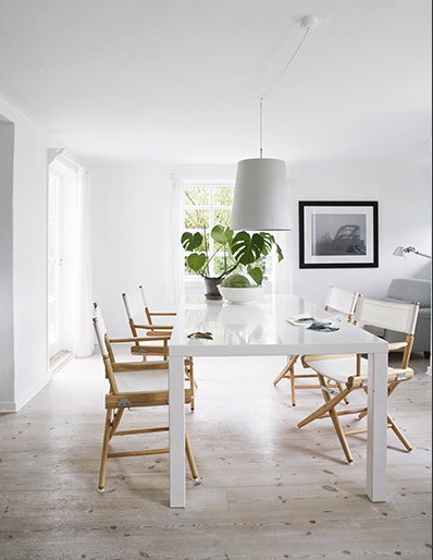 Lacquered Table Director Chairs Minimalist Dining Room Dining Room Colors White Dining Table