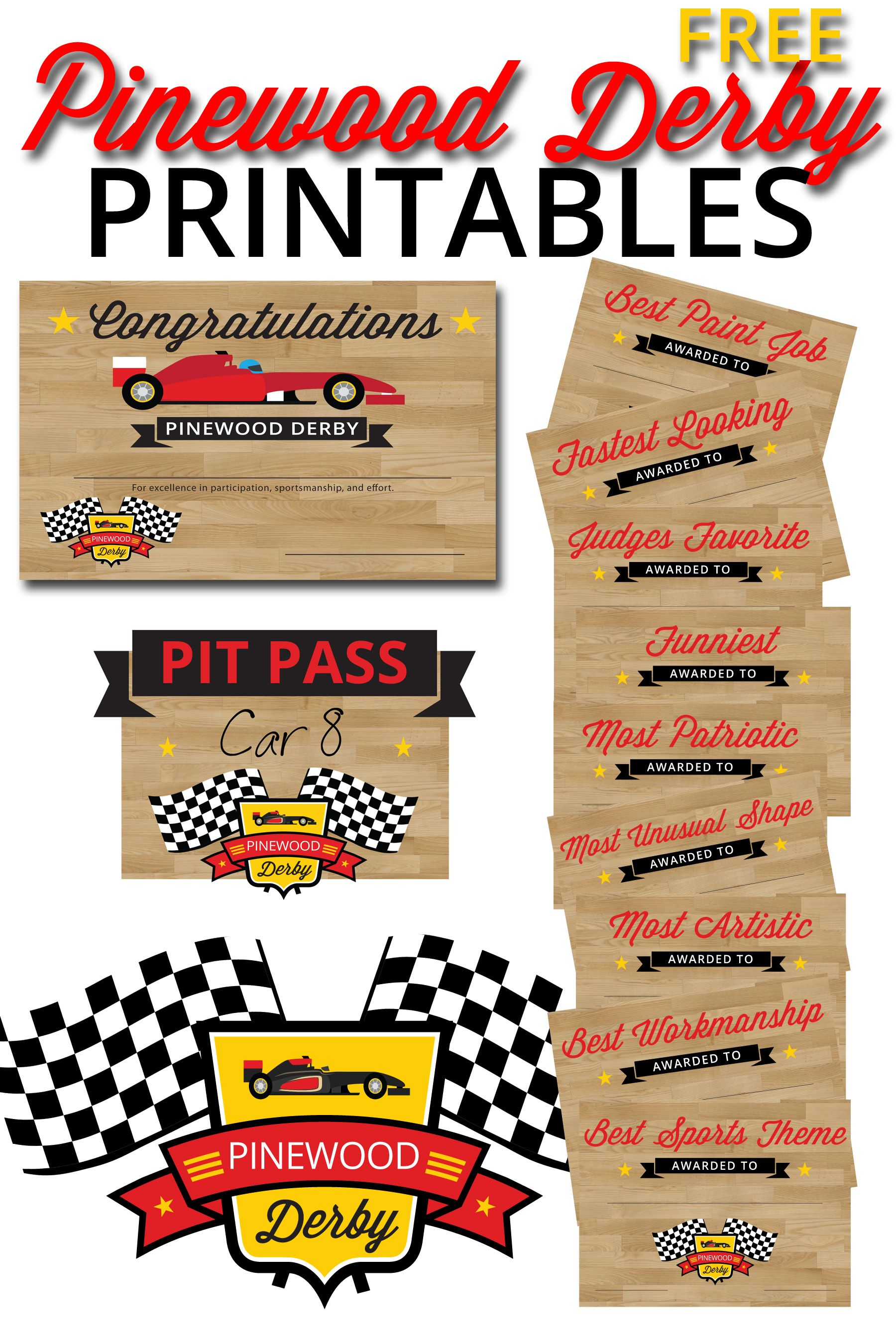 Free Pinewood Derby Printables | Cub Scouts | Pinterest | Pino ...