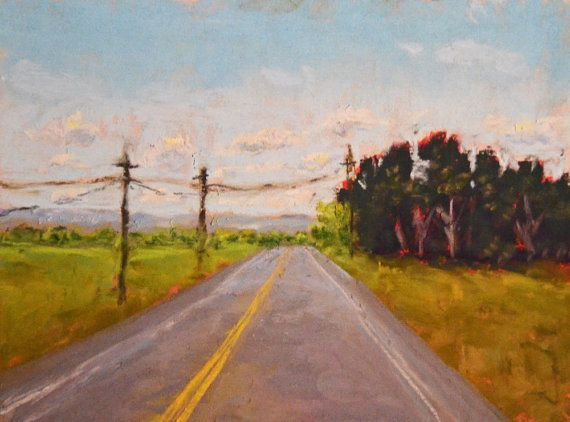 Original Landscape Painting The Road Ahead 6x8 by Christaforrest, $65.00
