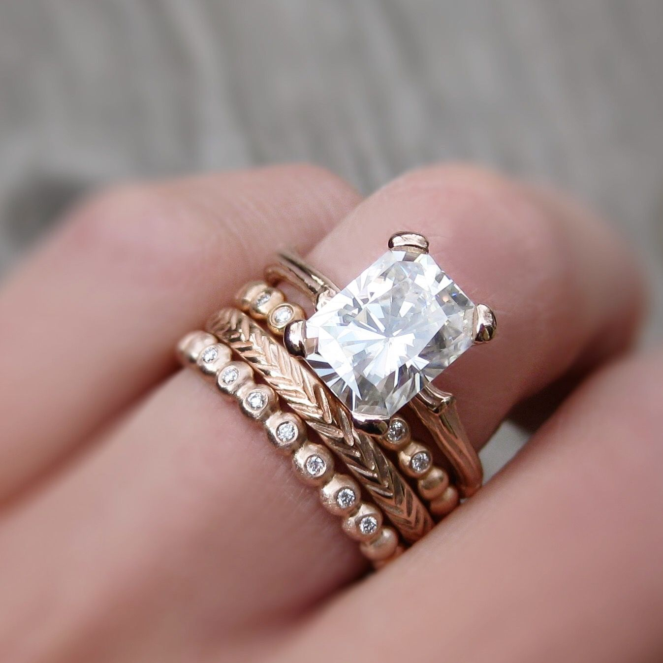 radiant forever brilliant moissanite twig engagement ring