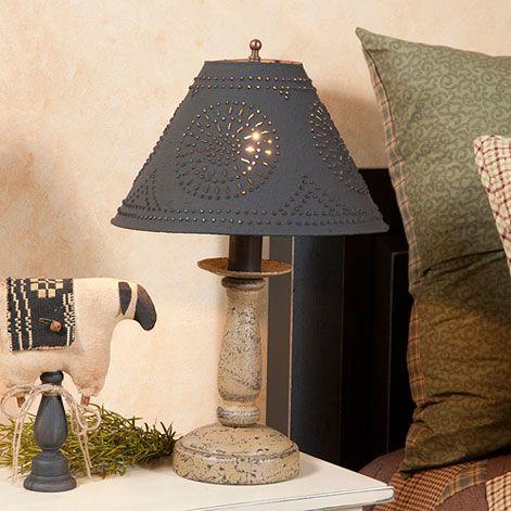 Butcher/'s Chamberstick Wooden Table Lamp w// ShadePrimitive Americana Light