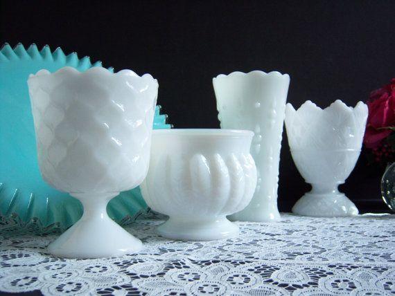 White Milk Glass Collection  Wedding Vases  by RetropolitanHolmes