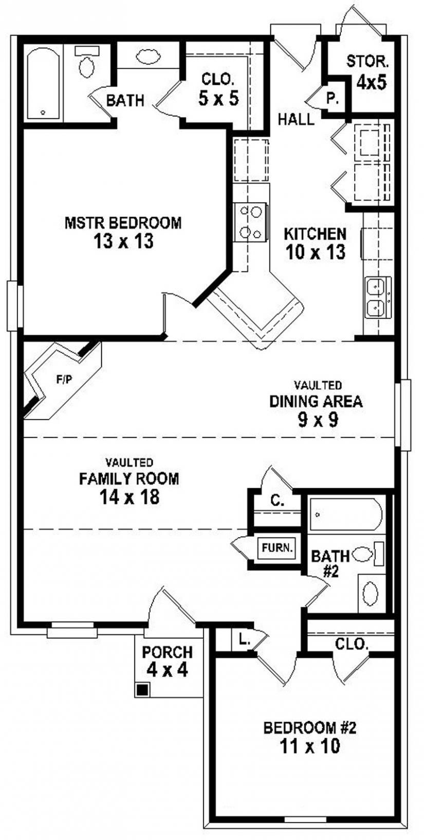 654334 Simple 2 Bedroom 2 Bath House Plan House Plans