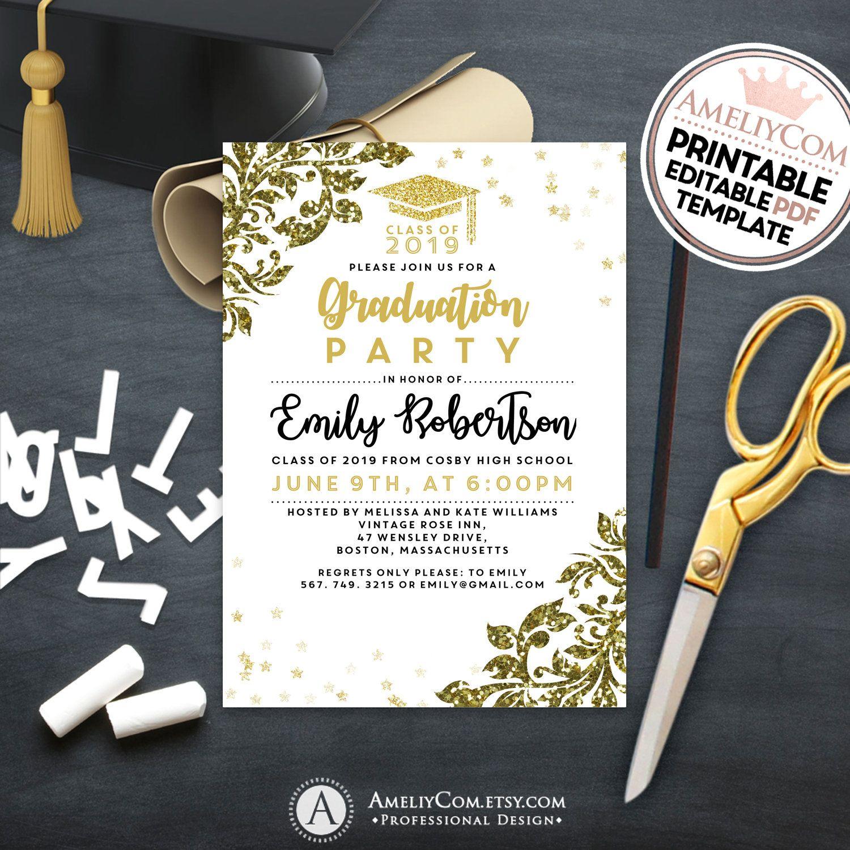 Gold High School Graduation Party Invitation Glitter Graduation