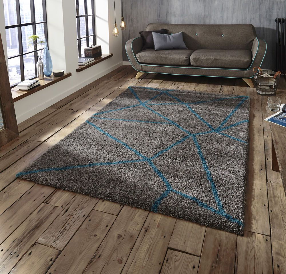 THINK RUGS ROYAL NOMADIC SHAGGY 120X170 160X230 GREY BLUE TEAL GEOMETRIC MODERN In Home Furniture