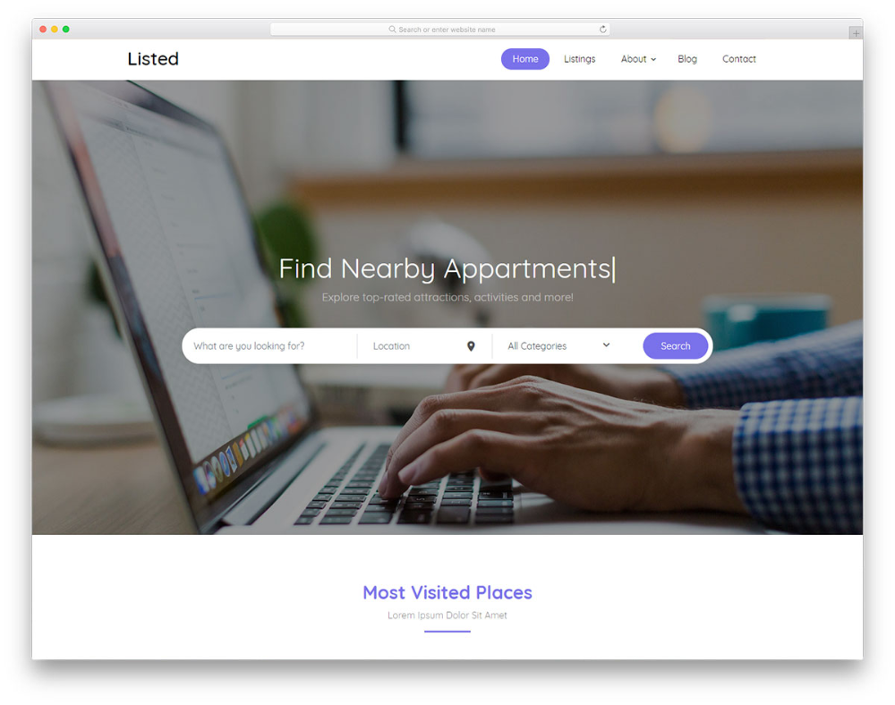 Listed2 Free Hotel Directory Website Template 2020 en