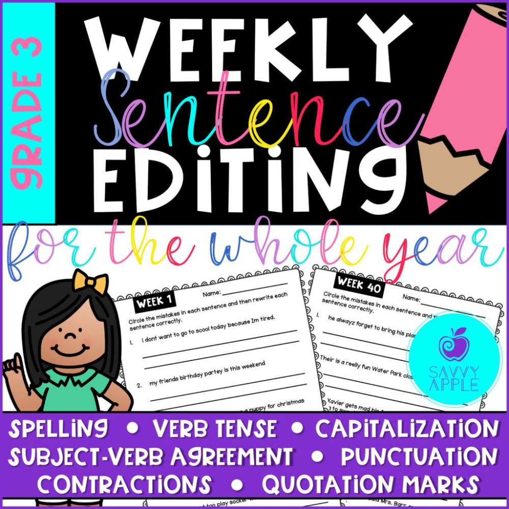 Sentence Correcting Worksheets For The Whole Year 40 Weeks Of No Prep Writing Skills Boosters Practic Sentence Editing Subject And Verb Classroom Essential [ 1000 x 1000 Pixel ]