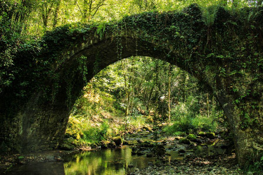 Ancient Bridge On The Camino de Santiago El Norte In Spain