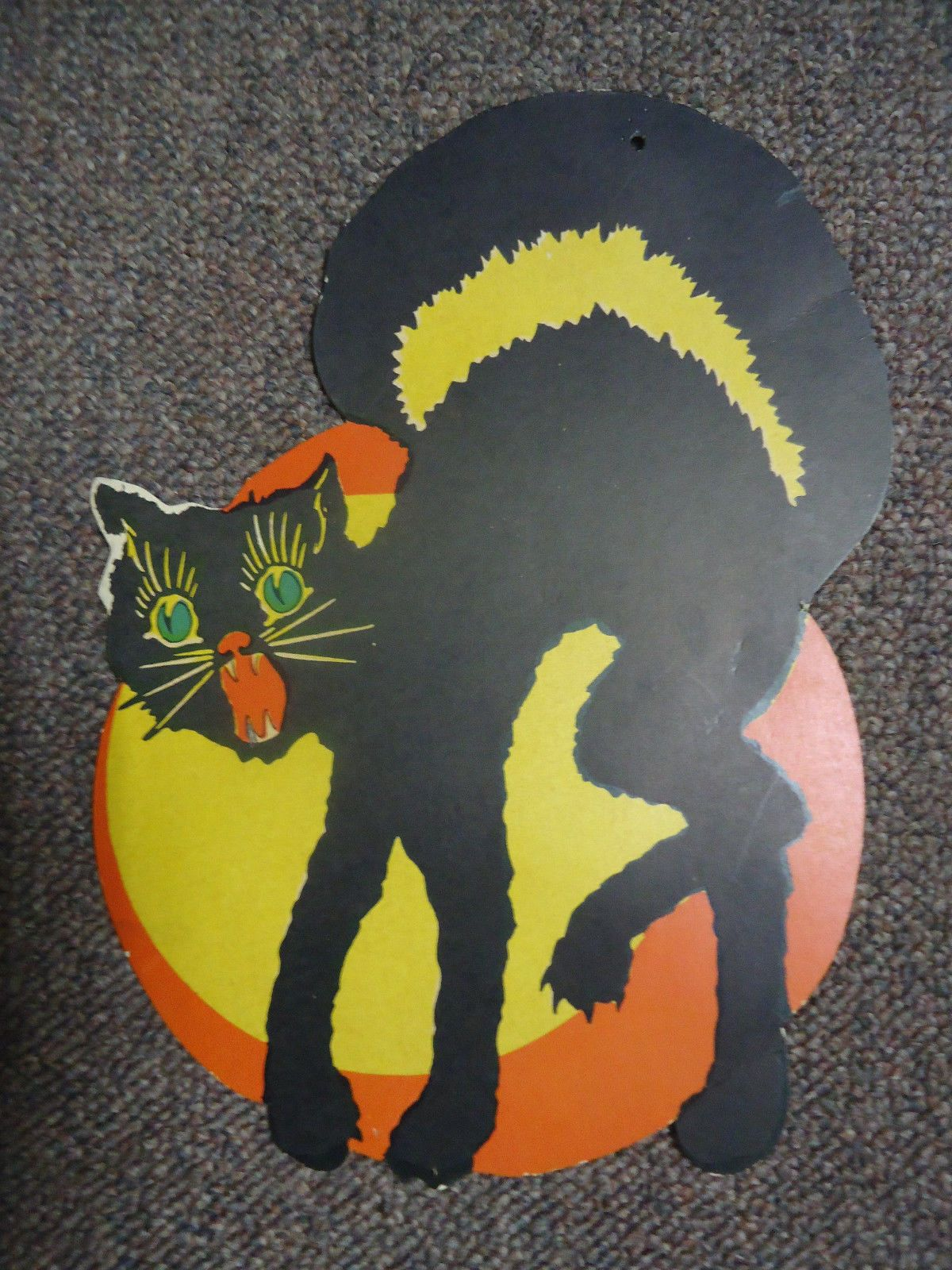 Vintage Old Halloween Die Cut Black Cat Moon Pumpkin 10 1 4 ...