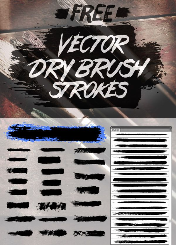 24 Free Vector Dry Brush Stroke Illustrator Brushes Design