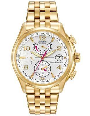 Citizen Eco-Drive Ladies World Time AT - Gold-Tone   White - Alarm - Dual  Time 413e497692