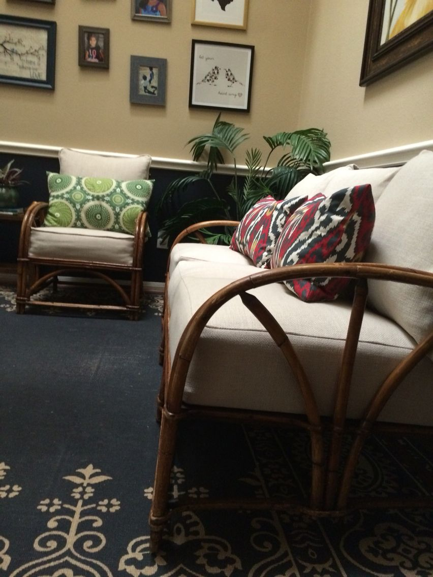 Vintage Rattan Sofa And Chair Set Reupholstered In Ballard Designs Upholstery Fabric