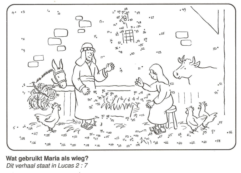 Maria Legt Baby Jezus In De Voerbak Voederbak Kribbe Van Stip Naar Stip Weihnachtsmalvorlagen Ausmalbilder Weihnachten Basteln In Der Sonntagsschule