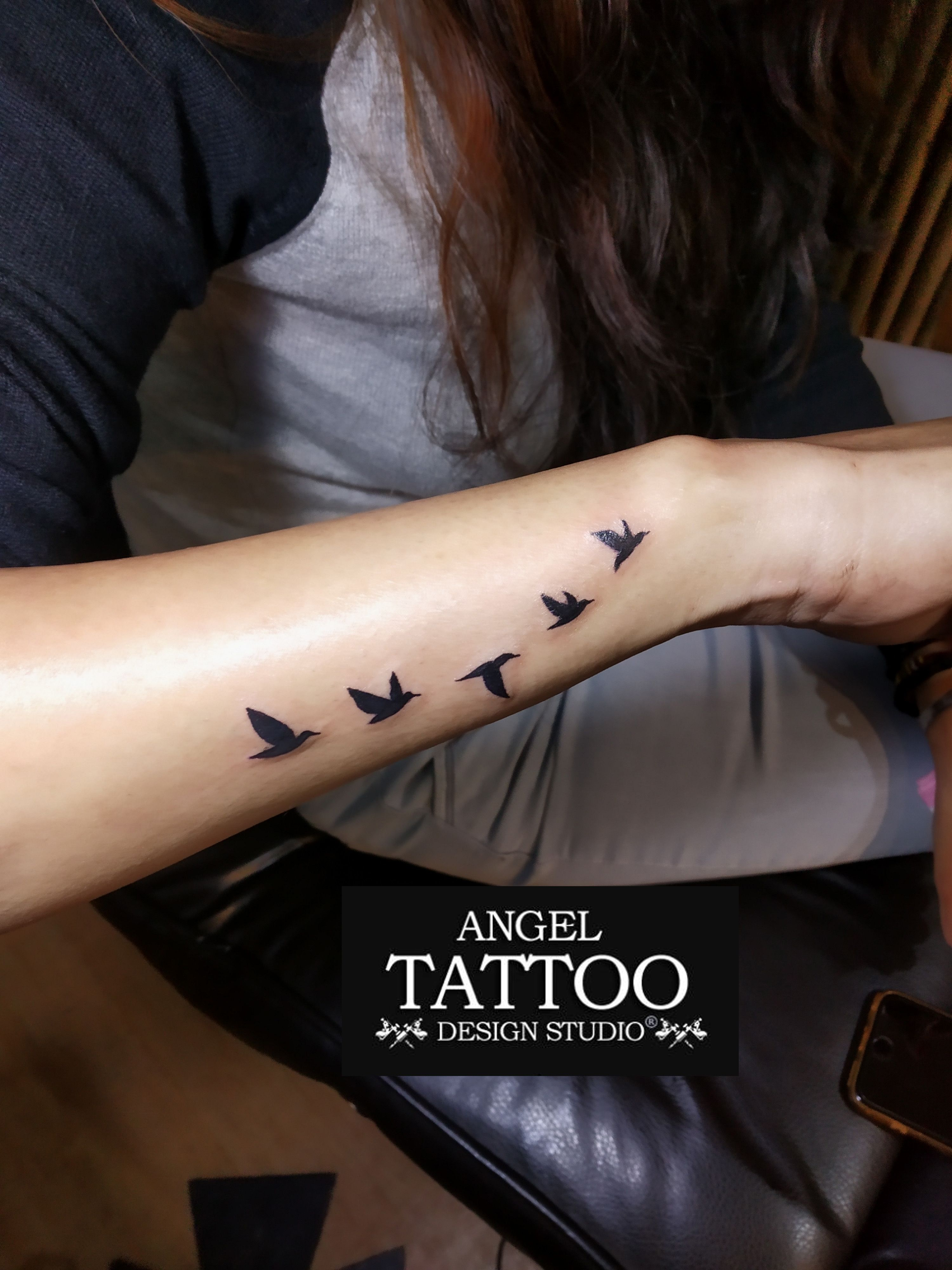 Small Birds Tattoo Made On Wrist At Gurgaon Shop Call 8826602967 For Appointment Smallbirdstattoo Tattooonwrist Birds Tattoo Tattoos Angel Tattoo Designs