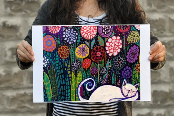 cat art print or add puppy or bird in whimsy...add the verse ...no fear...no worries :)