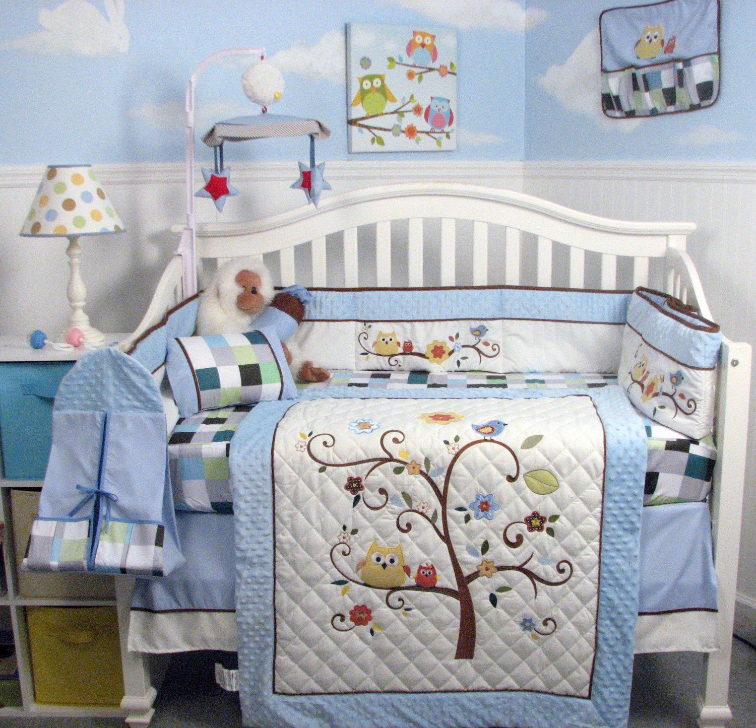 Amazon Com Soho Baby Blue Cherry Tree Nursery Bedding Set 14 Pcs Baby Nursery Bedding Baby Bedding Sets