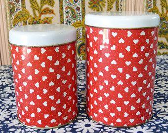 Lot 2 boîtes metal rouge & coeur blanc - rangement cuisine retro - vintage années 80