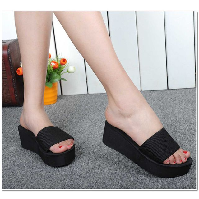 Women Platform Sandals - Fashion Ladies Summer Sandals Bath Slippers Casual Beach Wedge Shoes