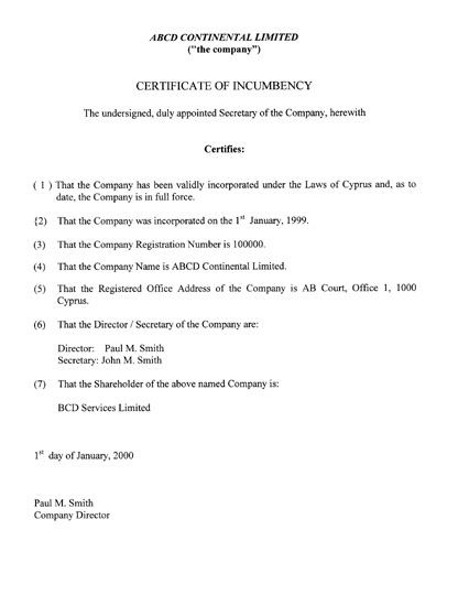 Printable Sample Certificate Of Incumbency Form  Laywers Template