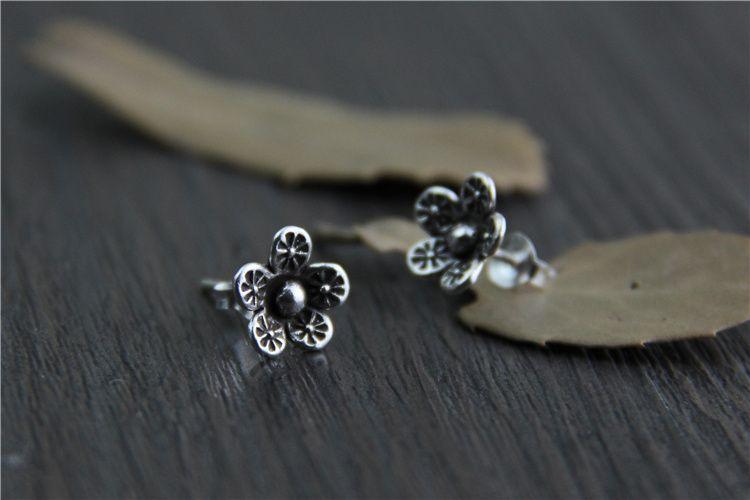 de457f049 S925 sterling silver jewelry national wind Thai Chiang Mai handmade silver  earrings lady small flower earrings [YQ016] - $14.00 : Thailand Silver  Jewelry- ...