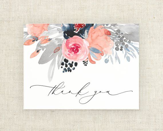 Wedding Thank You Card - Floral Thank You Note - Bridal Shower Thank You Cards - Thank You Card Set - Thank You Wedding - Navy Wedding