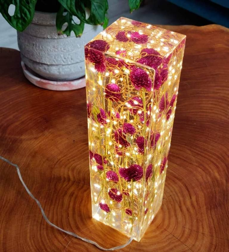 Photo of Red Clover and resin light sculpture *One of a kind