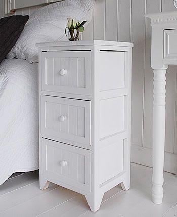 Slimline Bedside Cabinets maine white wooden bedside table with 3 drawers for storage