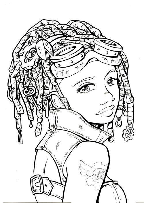 Line Art Steam Girl Google Search Steampunk Coloring People Coloring Pages Coloring Pages