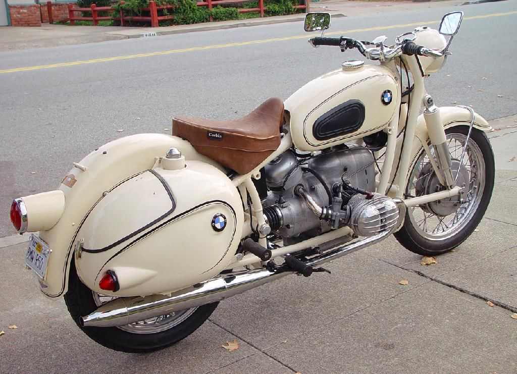1959 BMW R50 | I love the retro styling of this older Bimmer.  The cream color is legit, the shape of the bags look like those old-school campers, and the leather on the saddle is sick.