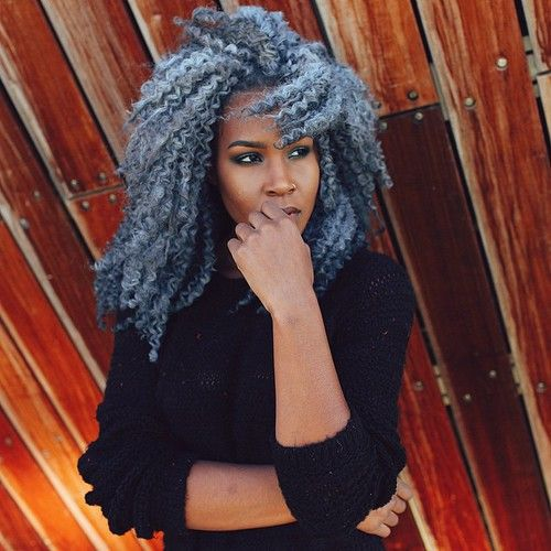 Gray Hair Silver Hair Black Girl With Colorful Hair Black Womens Inspiration Curly Hair Styles Hair Styles Weave Hairstyles
