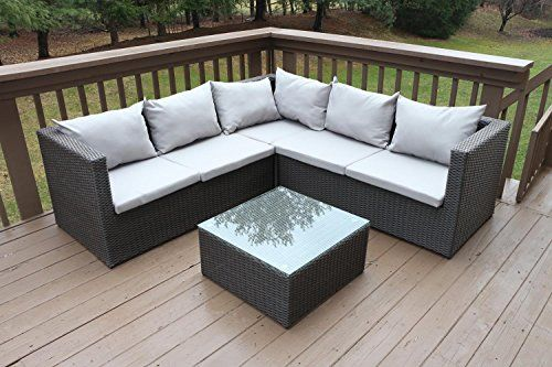 Oliver Smith - Large 45 Pc Modern Rattan Wiker Sectional Sofa Set ...